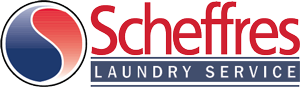 Red and blue logo with words Scheffres Laundry Service